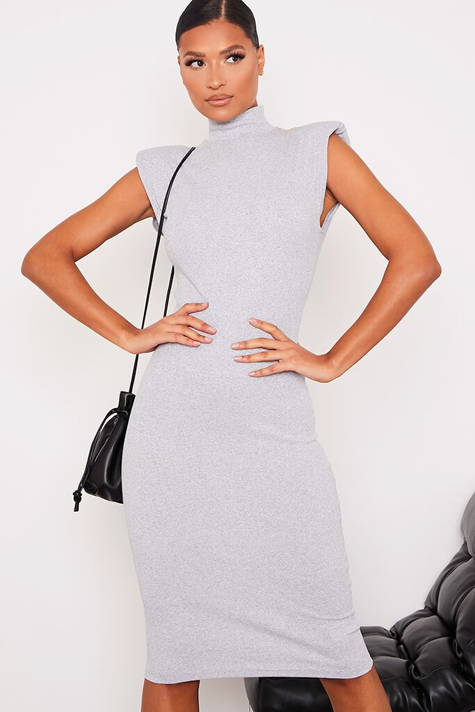 Grey Ribbed Shoulder Pad Sleeveless Midaxi Dress