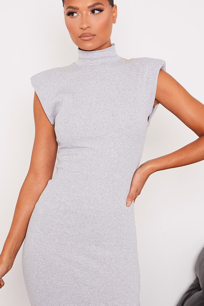 Grey Ribbed Shoulder Pad Sleeveless Midaxi Dress view 5