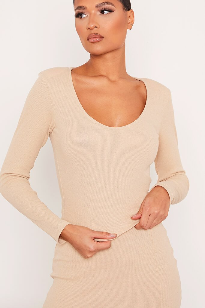 Stone Ribbed Long Sleeve Crop T-Shirt view 5