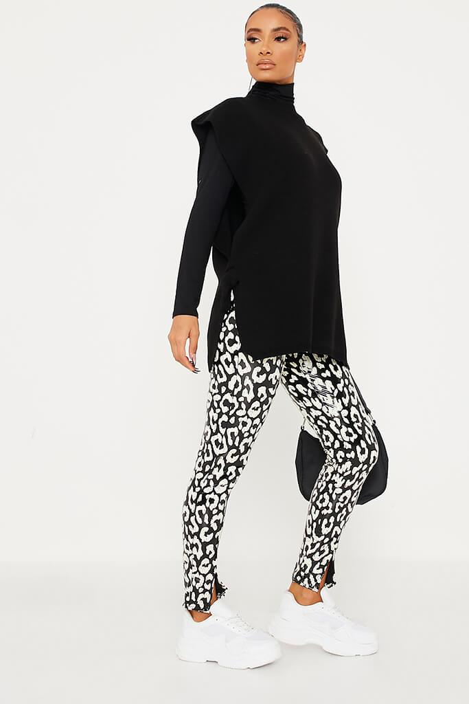 Black Front Split Hem Vinyl Leopard Print Leggings view 3