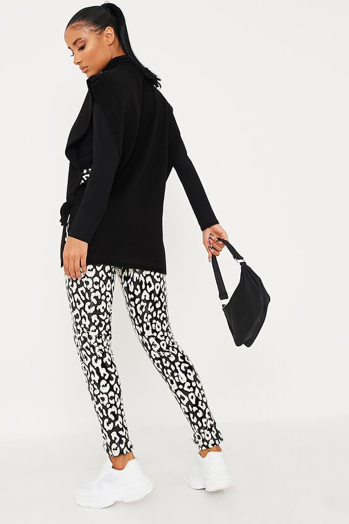 Black Front Split Hem Vinyl Leopard Print Leggings view 4