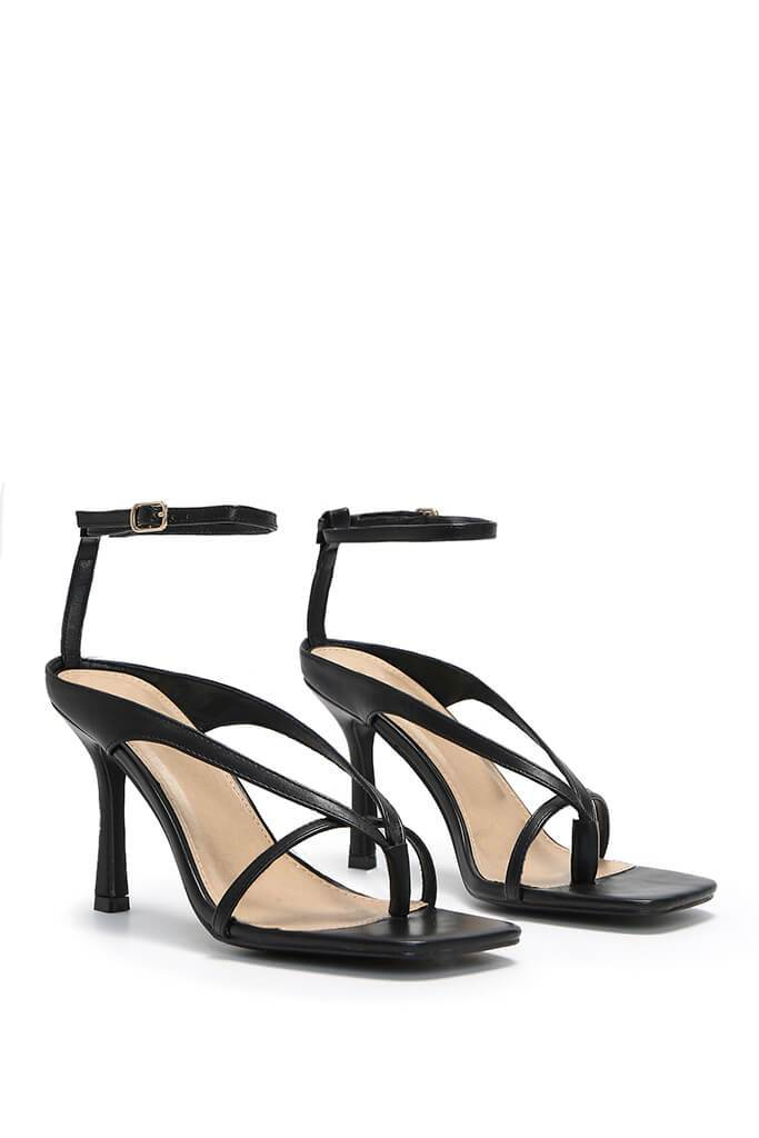 Black Square Toe Strappy Heels view 4