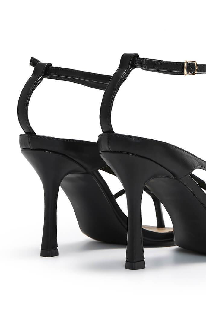 Black Square Toe Strappy Heels view 5
