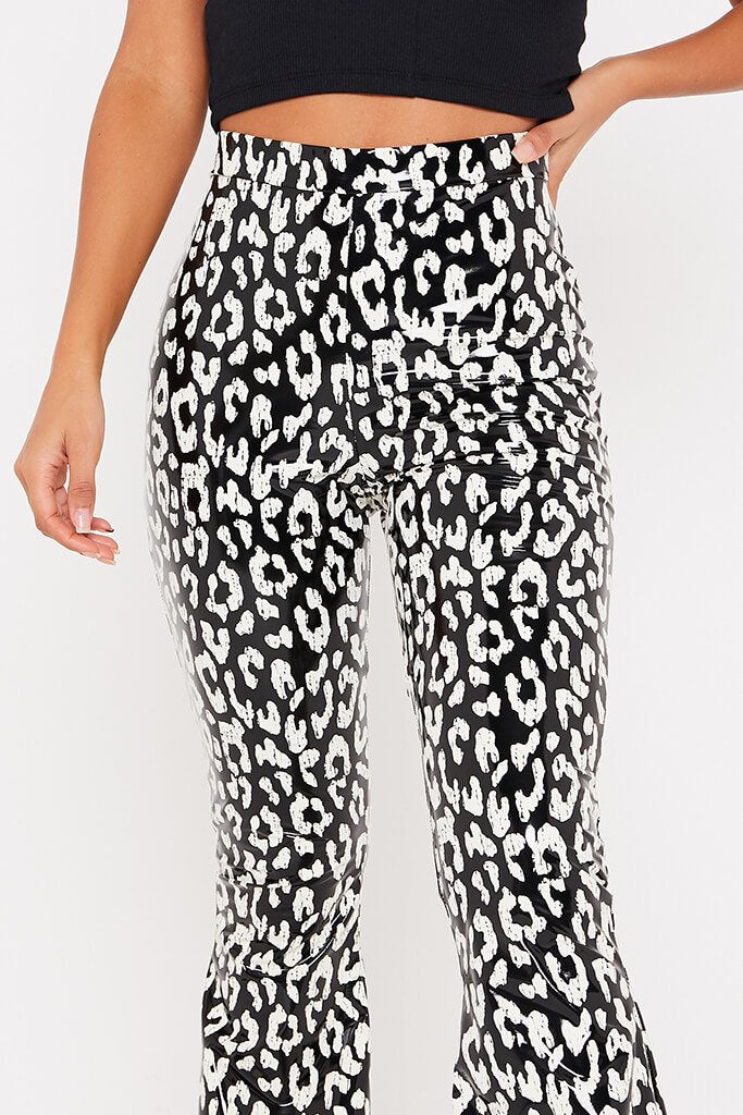 Black & White Leopard Vinyl Flared Trousers view 5