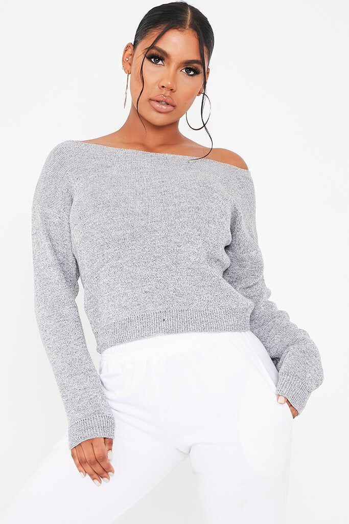 Grey Marl Slash Neck Knitted Jumper
