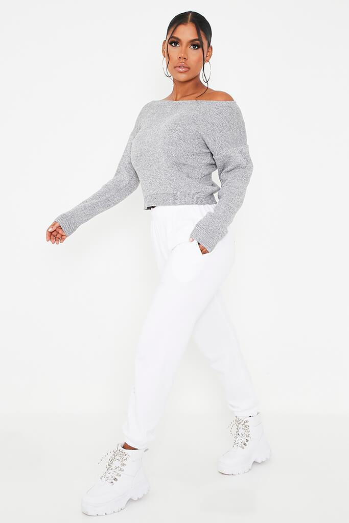 Grey Marl Slash Neck Knitted Jumper view 3
