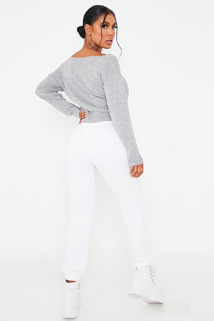 Grey Marl Slash Neck Knitted Jumper view 4