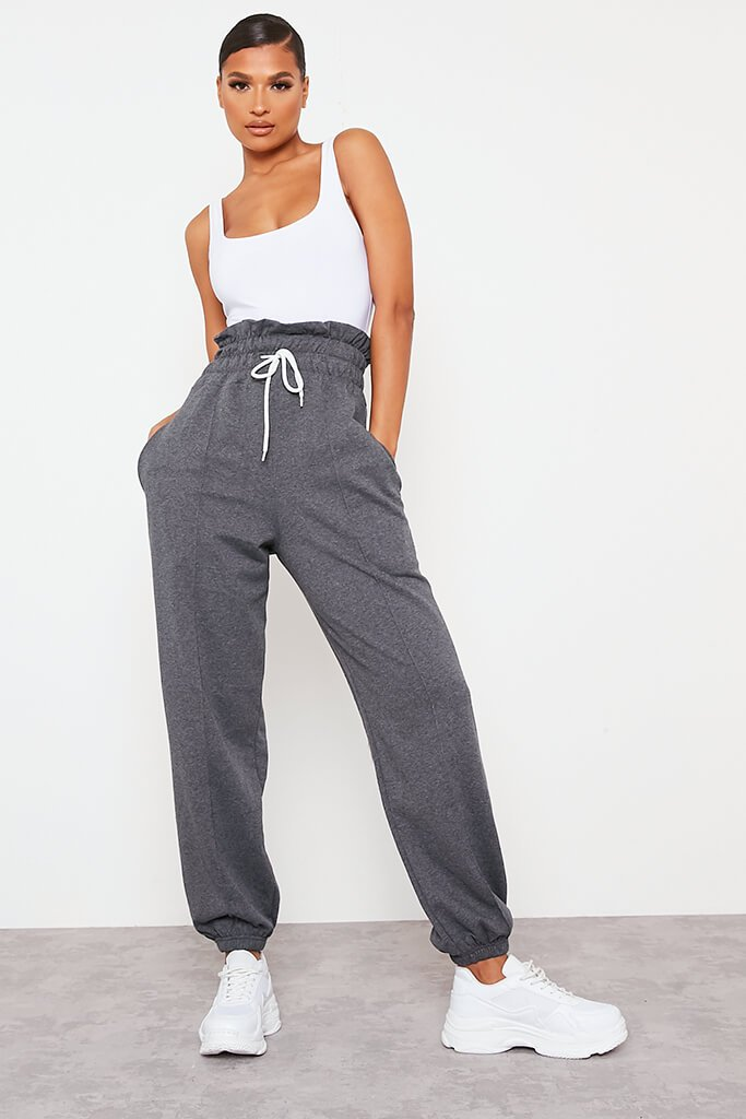 Charcoal Pin Tuck High Waist Basic Joggers