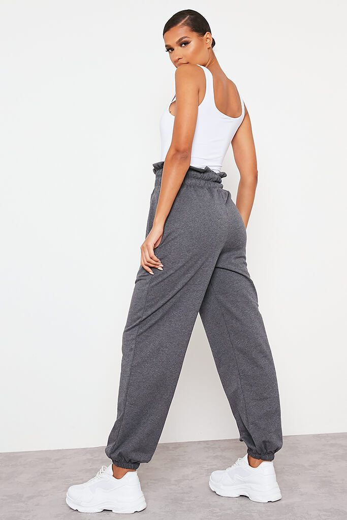 Charcoal Pin Tuck High Waist Basic Joggers view 4