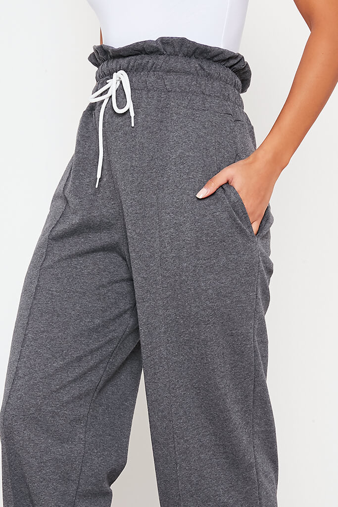 Charcoal Pin Tuck High Waist Basic Joggers view 5