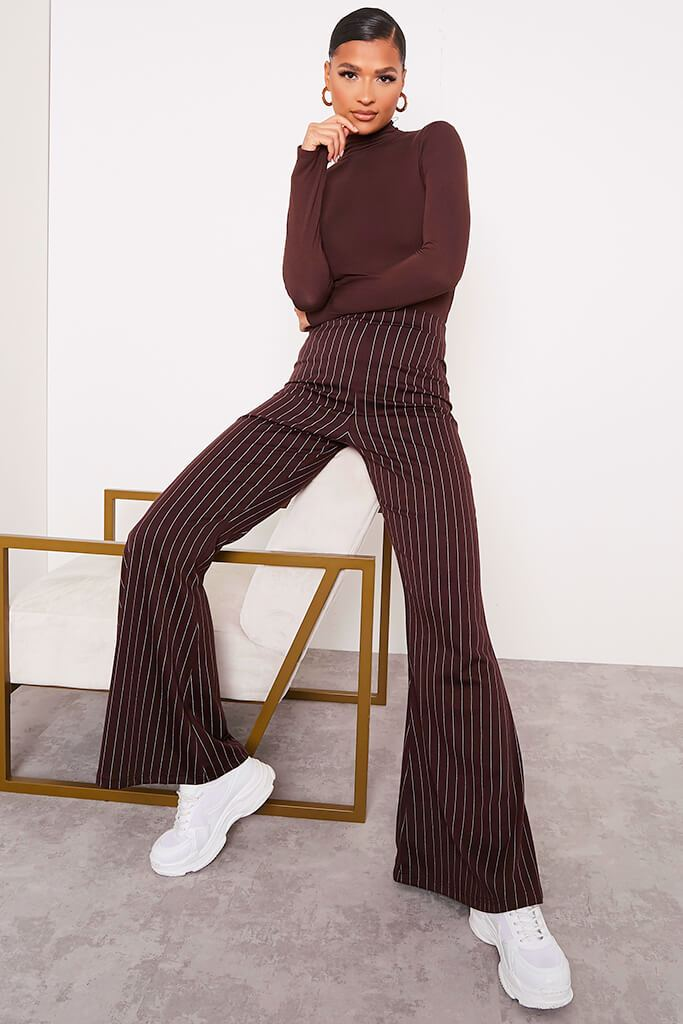 Chocolate High Waisted Pinstripe Flared Trousers