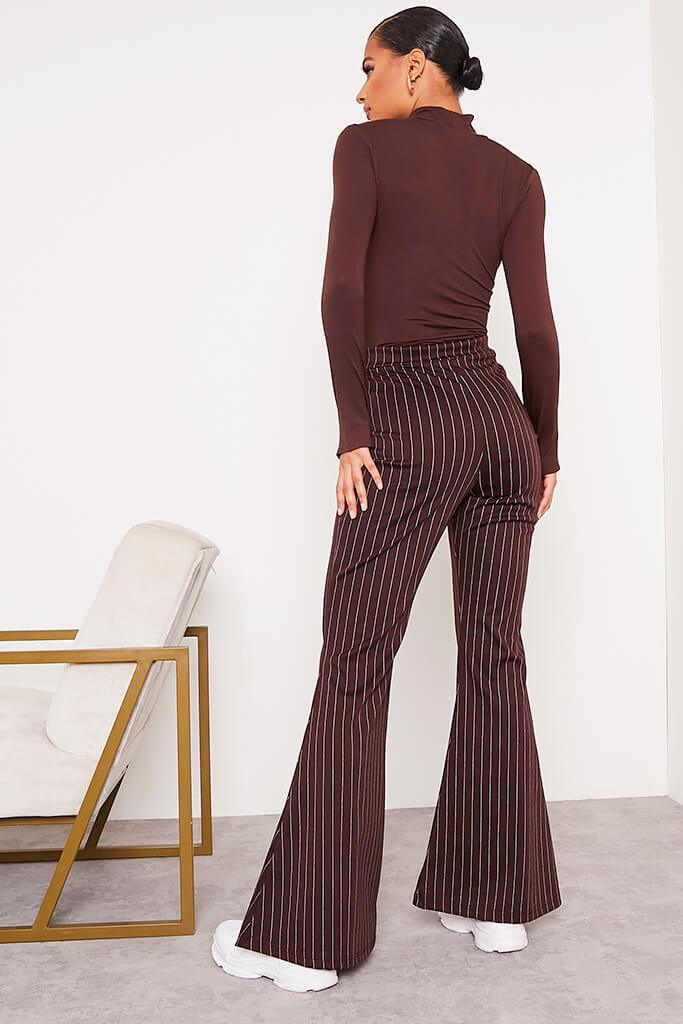 Chocolate High Waisted Pinstripe Flared Trousers view 4
