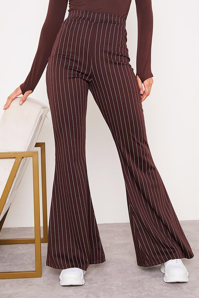 Chocolate High Waisted Pinstripe Flared Trousers view 2