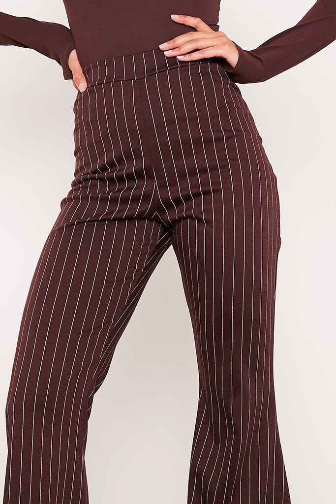 Chocolate High Waisted Pinstripe Flared Trousers view 5
