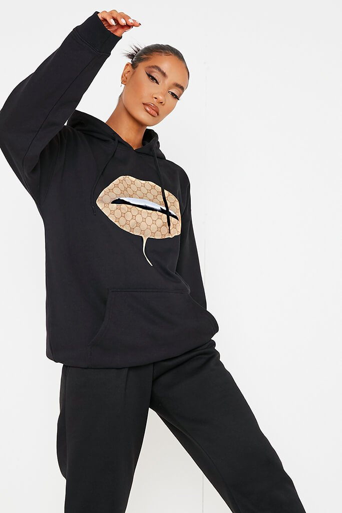 Black Monogram Lips Oversized Hoodie