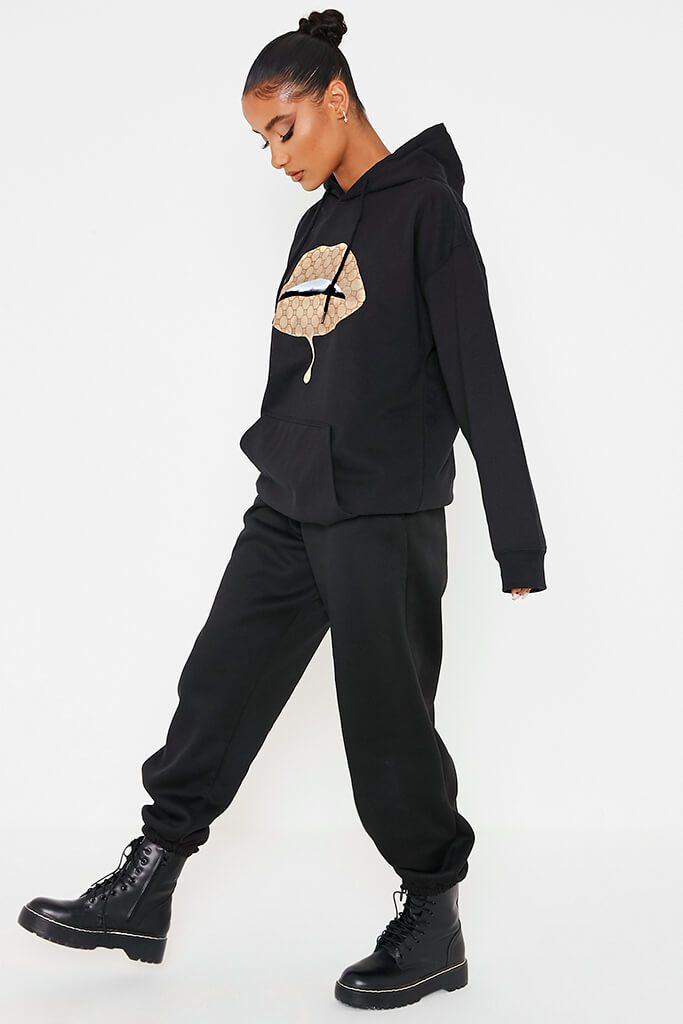 Black Monogram Lips Oversized Hoodie view 3