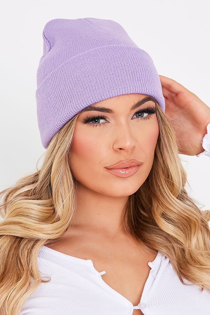 Lilac Knitted Beanie Hat view 4