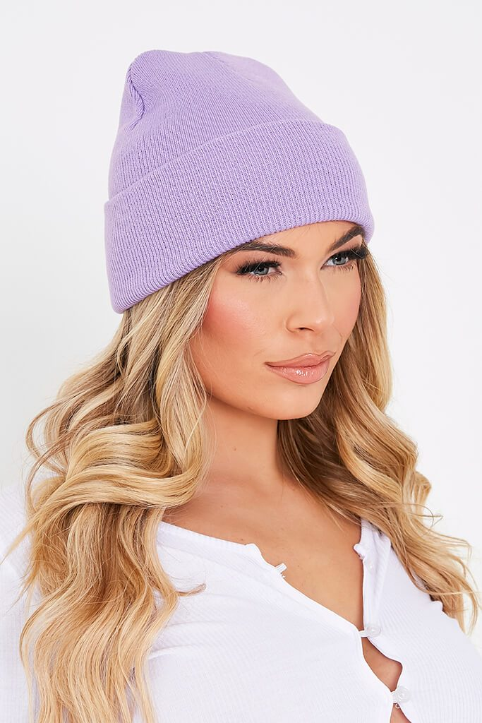 Lilac Knitted Beanie Hat view 5
