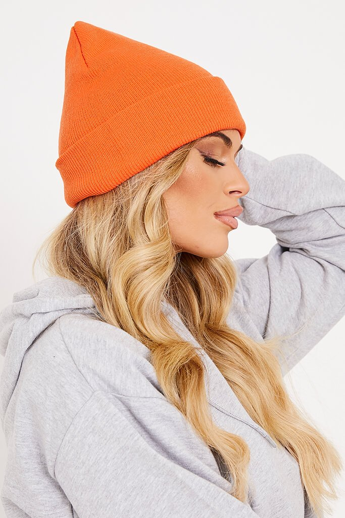 Orange Knitted Beanie Hat view 2