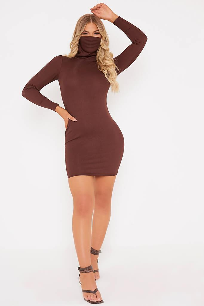 Chocolate Rib High Neck Face Mask Dress view 2