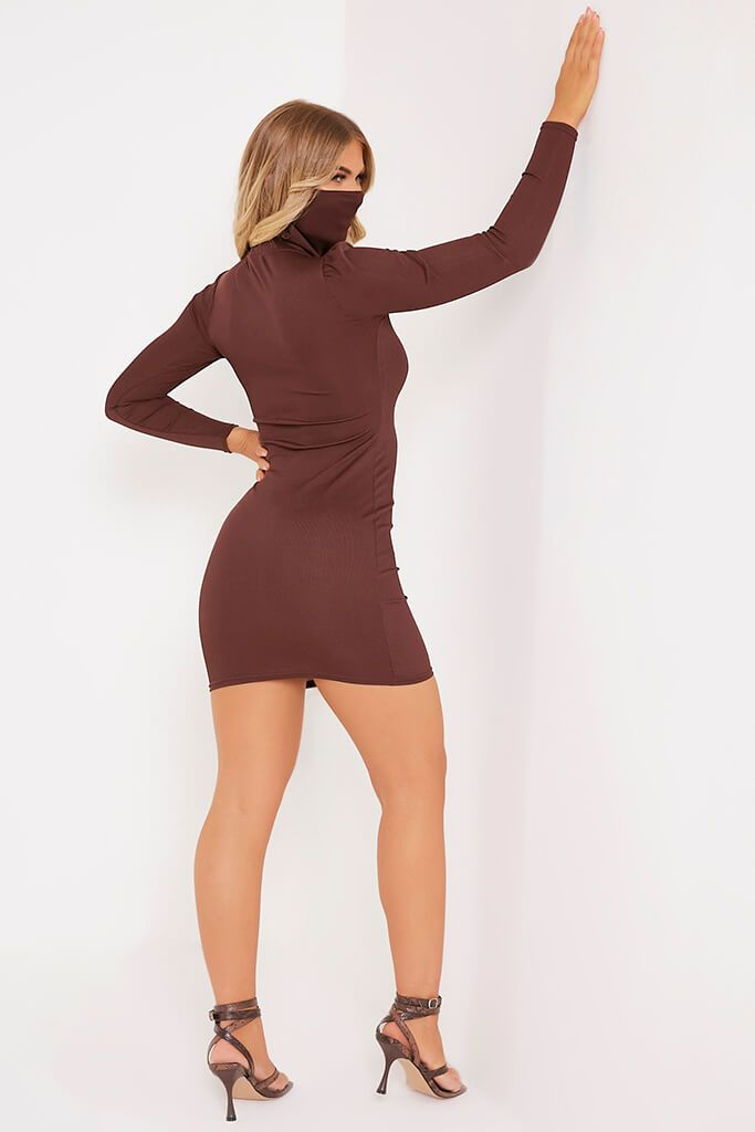 Chocolate Rib High Neck Face Mask Dress view 4
