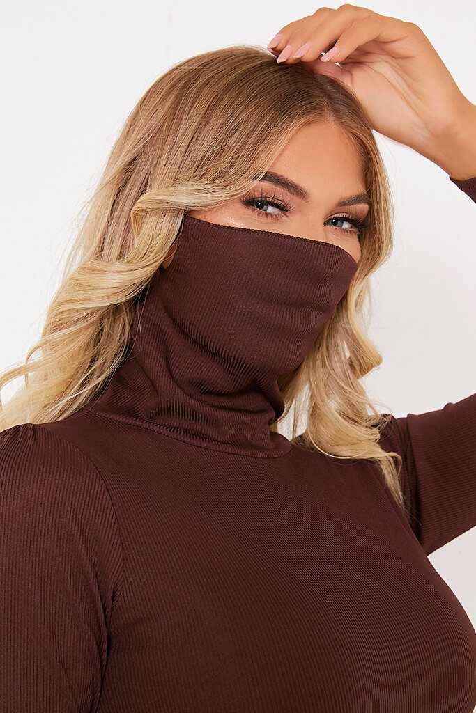 Chocolate Rib High Neck Face Mask Dress view 5