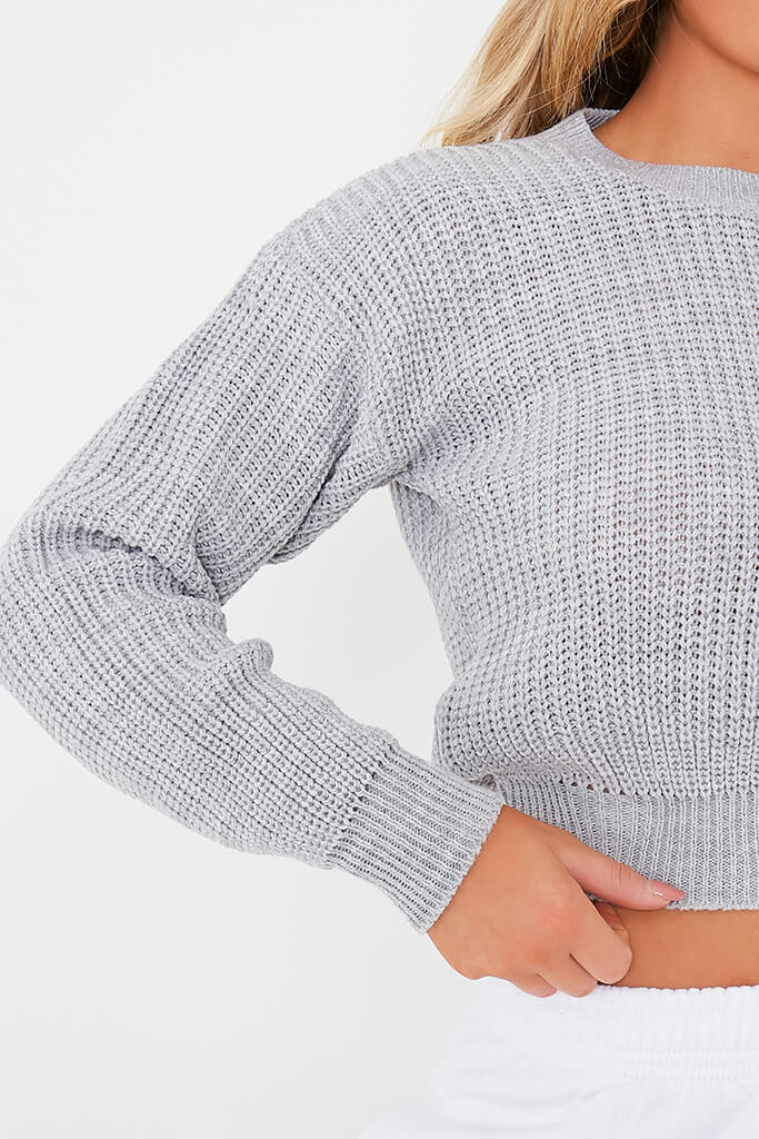 Grey Fisherman Rib Crew Neck Jumper view 5