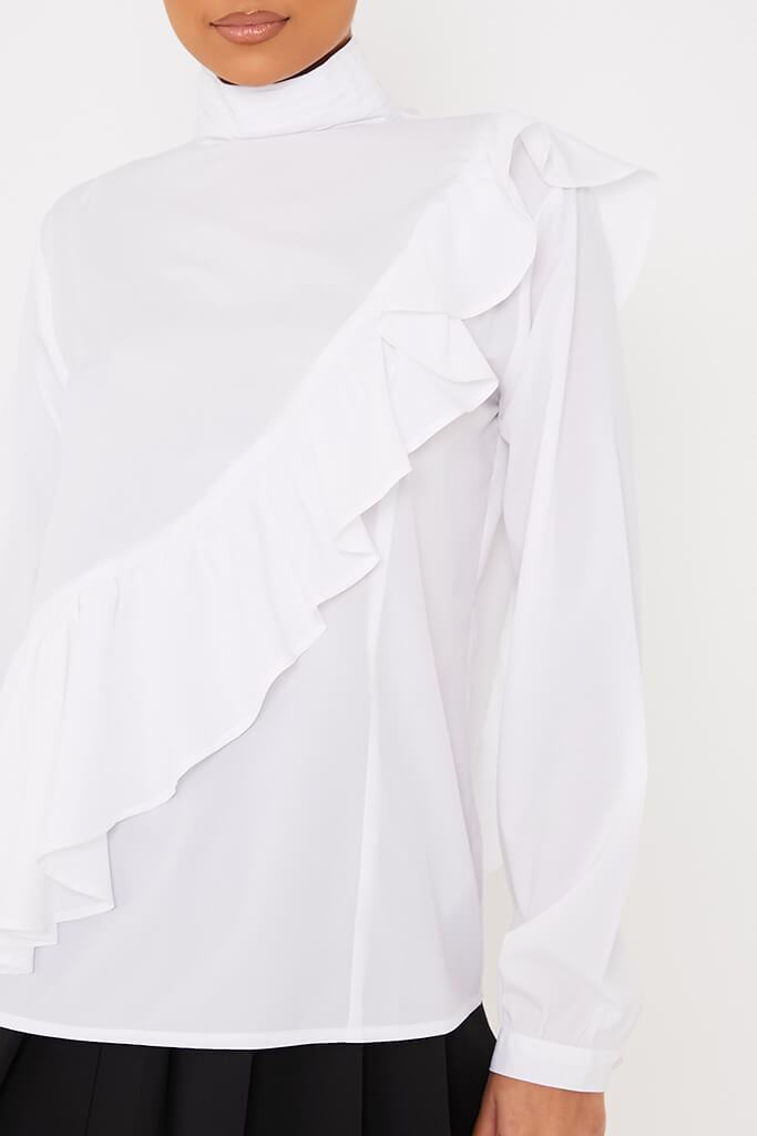 White Woven High Neck Asymm Frill Blouse view 5