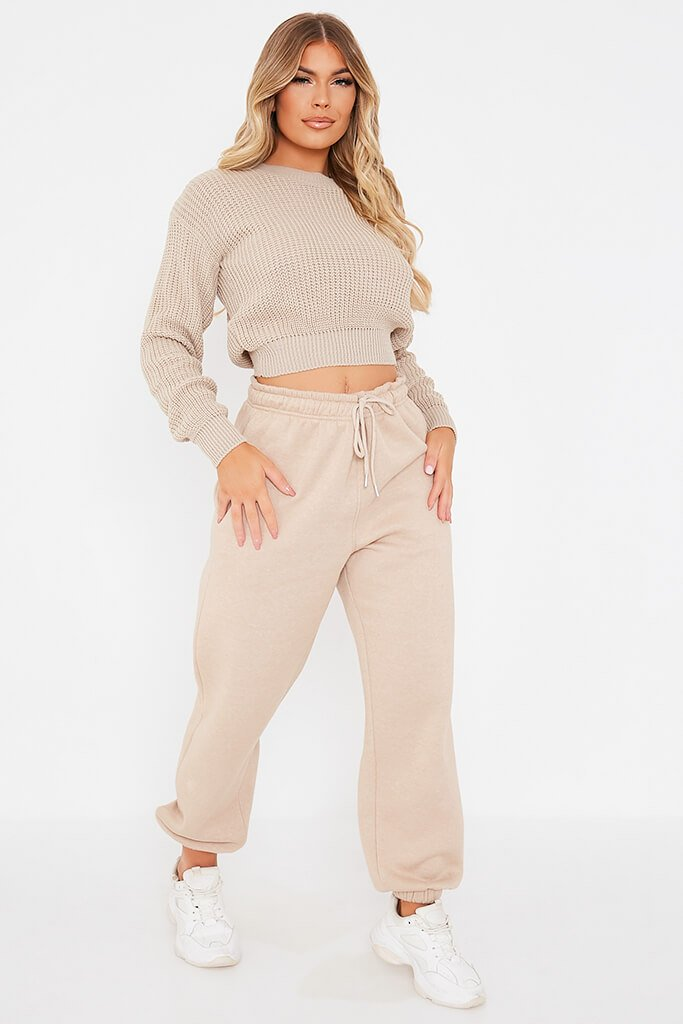 Stone Fisherman Rib Crew Neck Cropped Jumper view 2