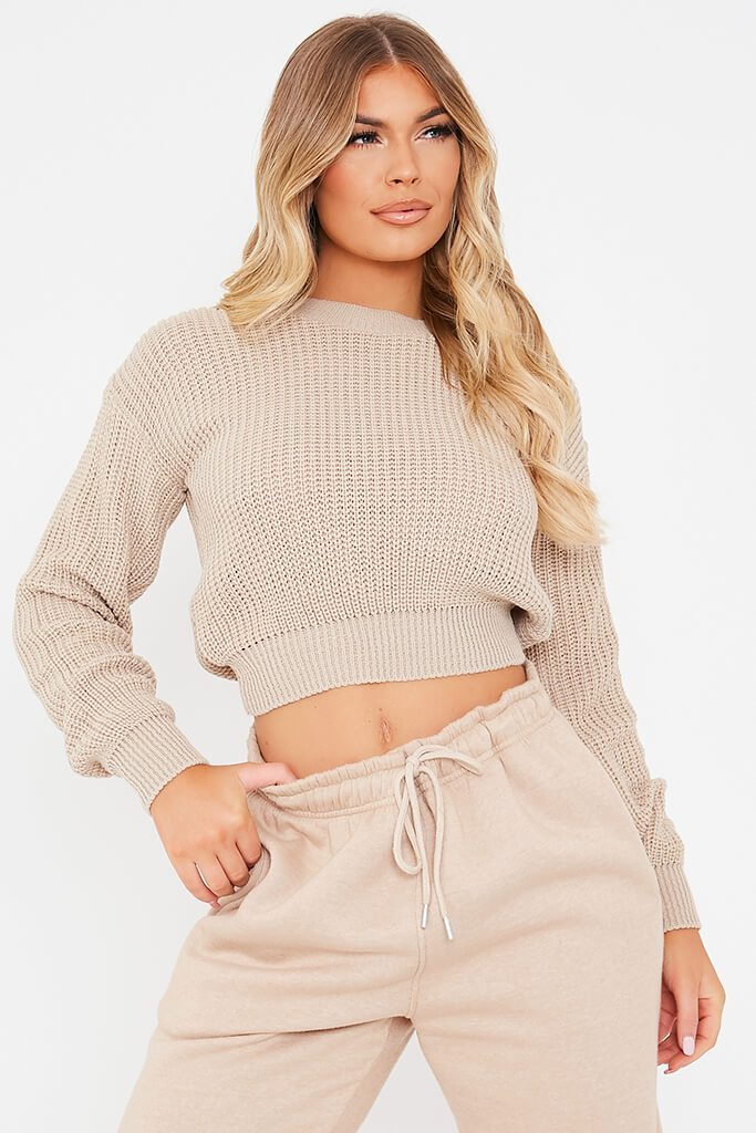 Stone Fisherman Rib Crew Neck Cropped Jumper view main view