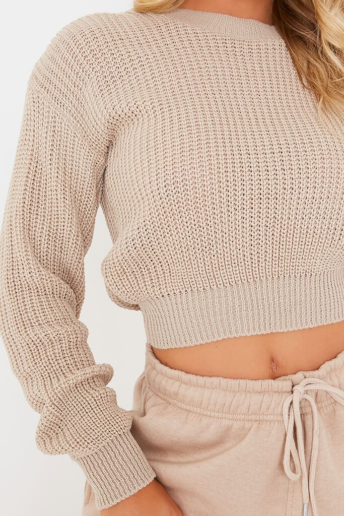 Stone Fisherman Rib Crew Neck Cropped Jumper view 5