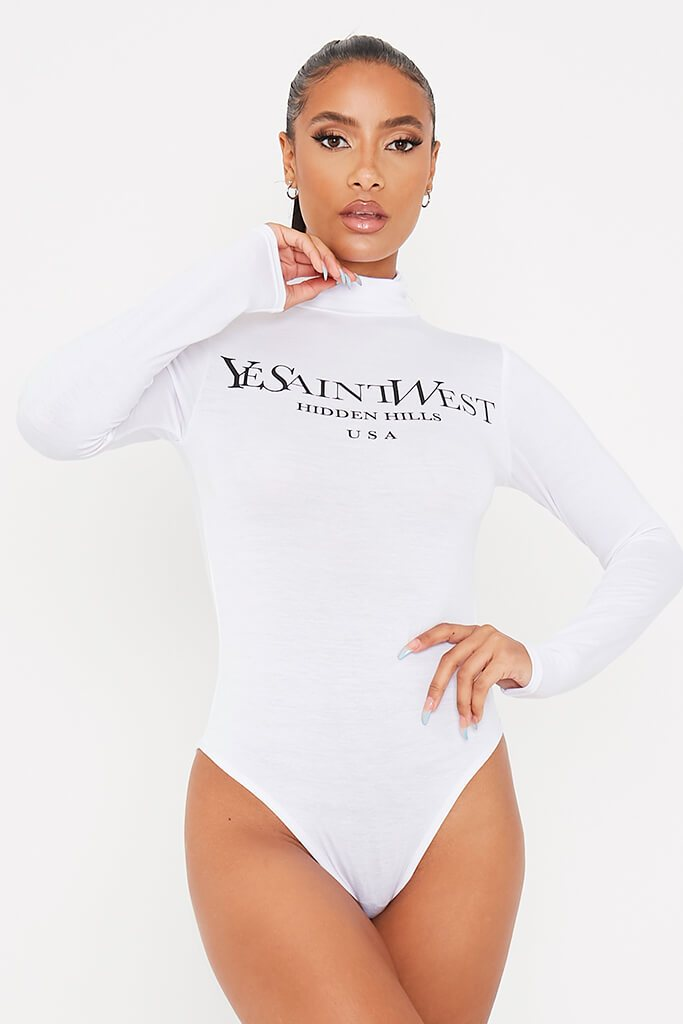 White Ye Saint Slogan Roll Neck Bodysuit view 2