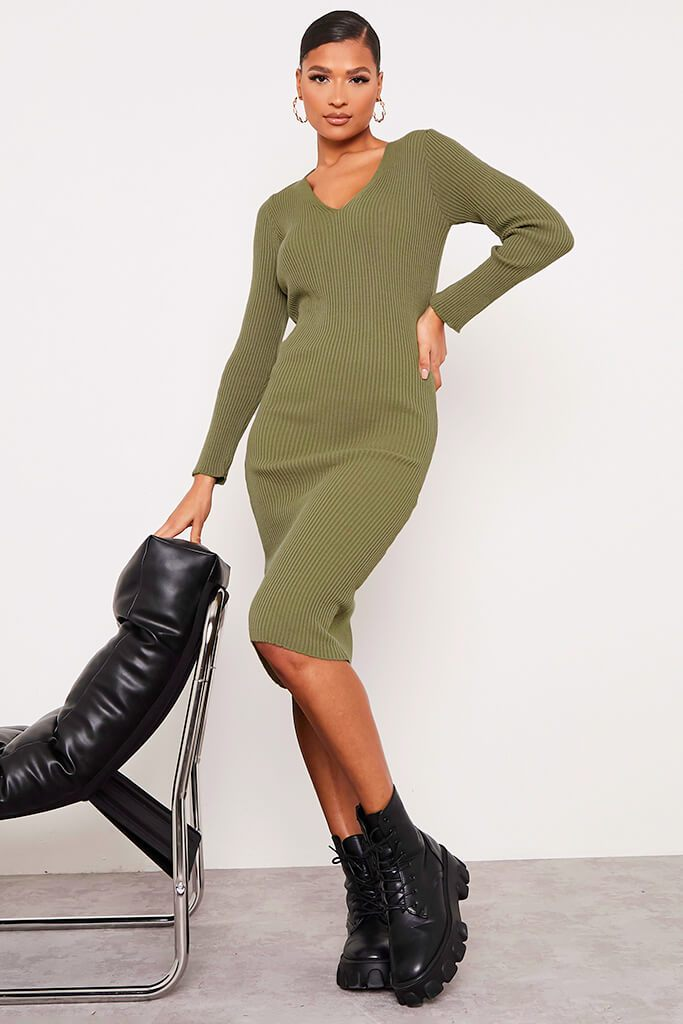 Khaki Fine Knit Dress With V-Neck And V Back view 2