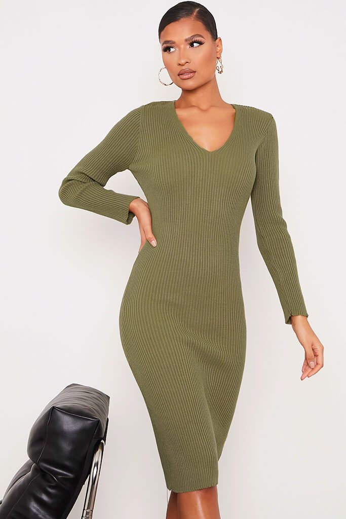 Khaki Fine Knit Dress With V-Neck And V Back