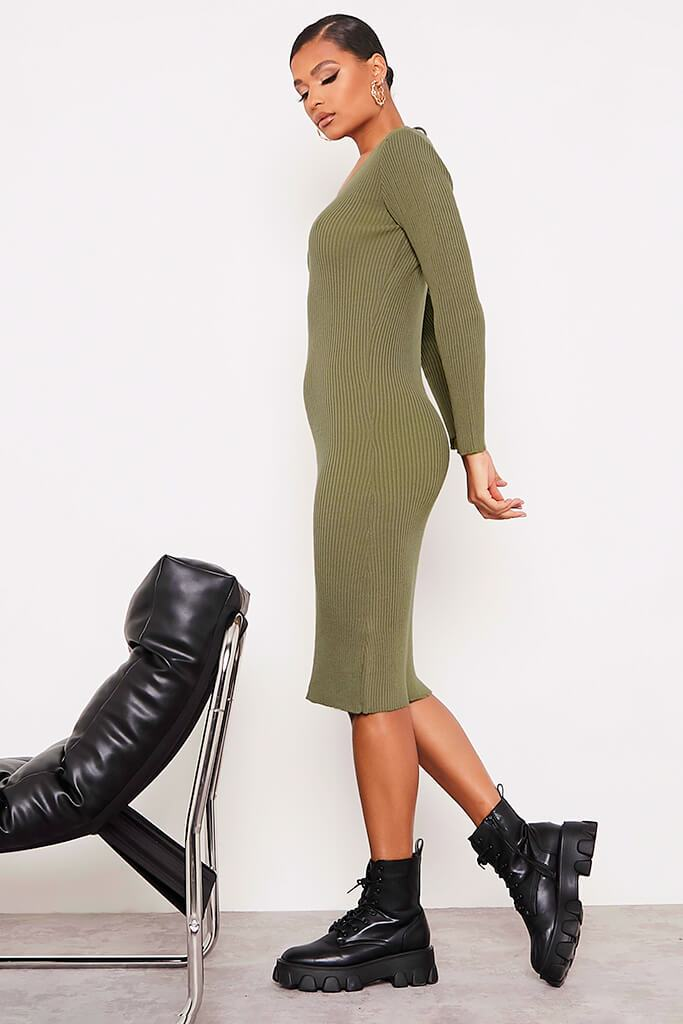 Khaki Fine Knit Dress With V-Neck And V Back view 3