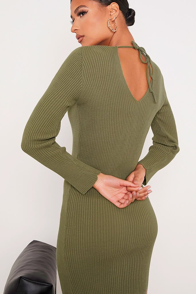 Khaki Fine Knit Dress With V-Neck And V Back view 5