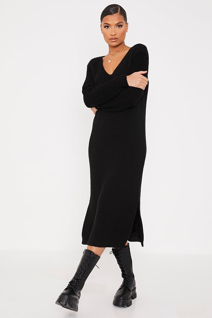 Black Chunky Knit Midi Dress With V Neck view 2