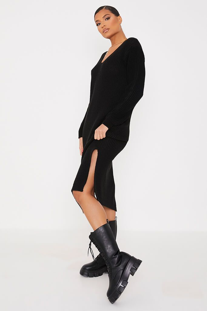 Black Chunky Knit Midi Dress With V Neck view 3