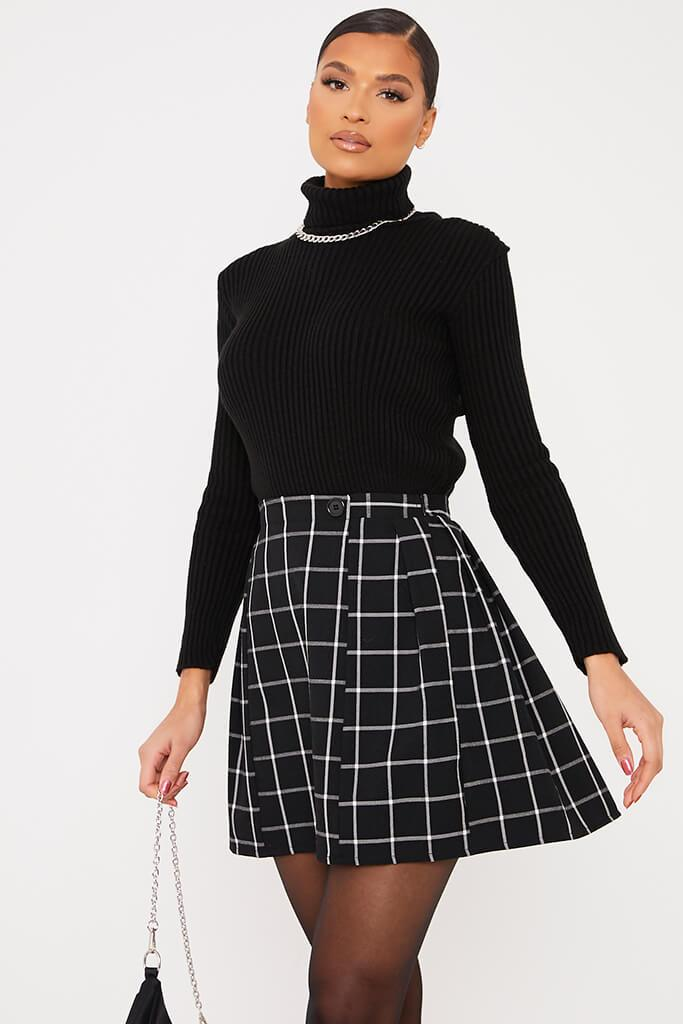 Black Woven Check Pleated Mini Skirt