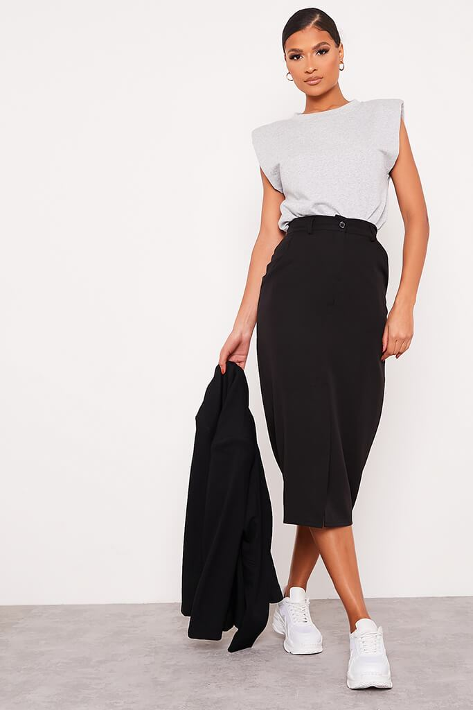 Black Woven Split Front Midi Skirt