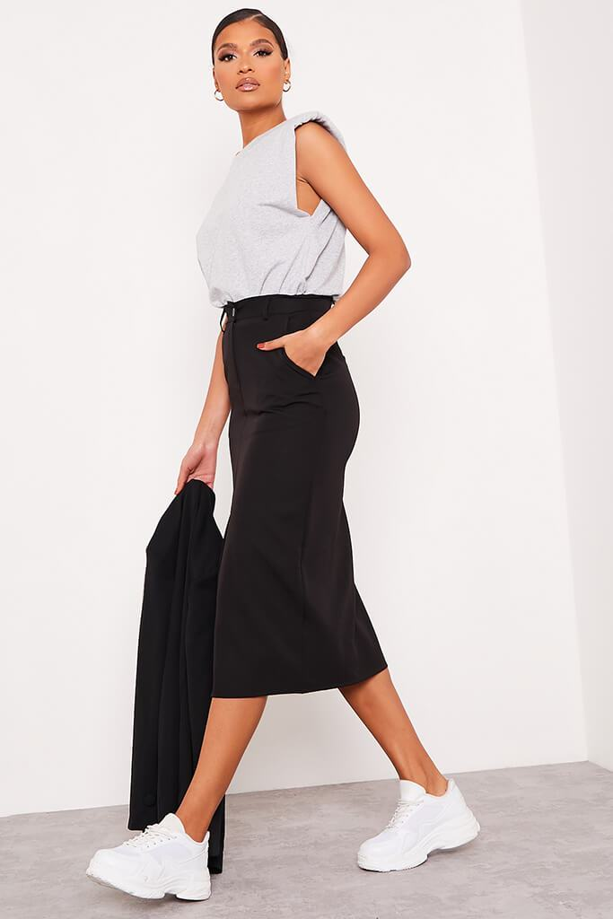 Black Woven Split Front Midi Skirt view 3