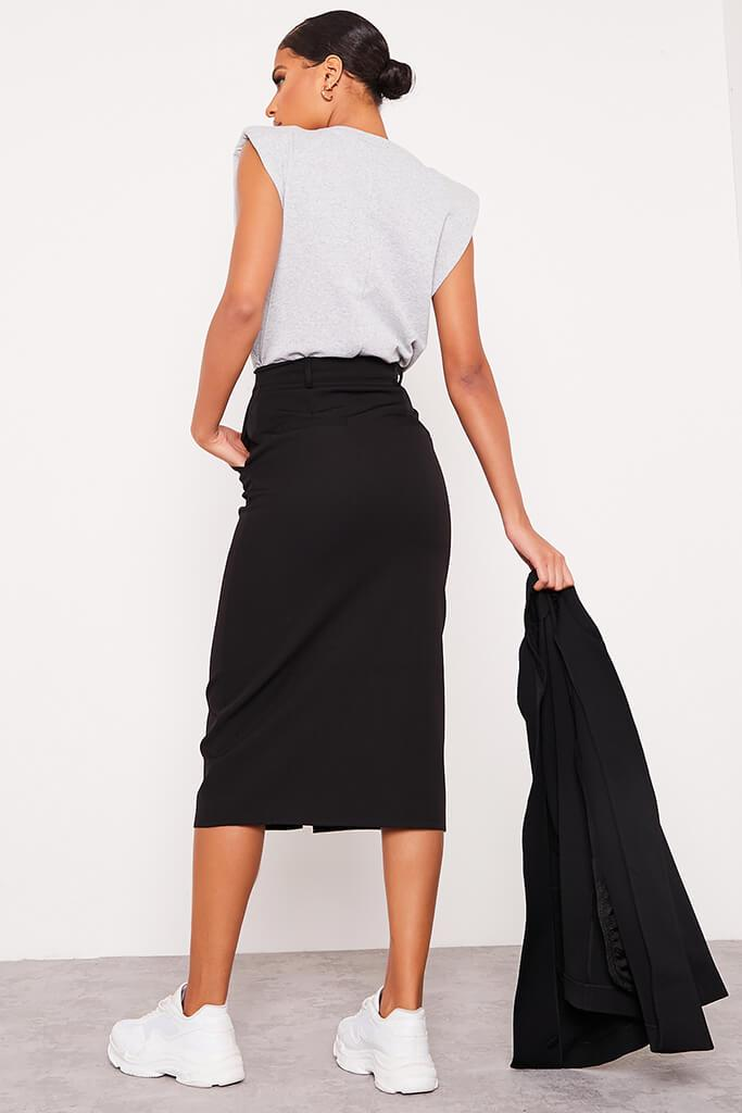 Black Woven Split Front Midi Skirt view 4
