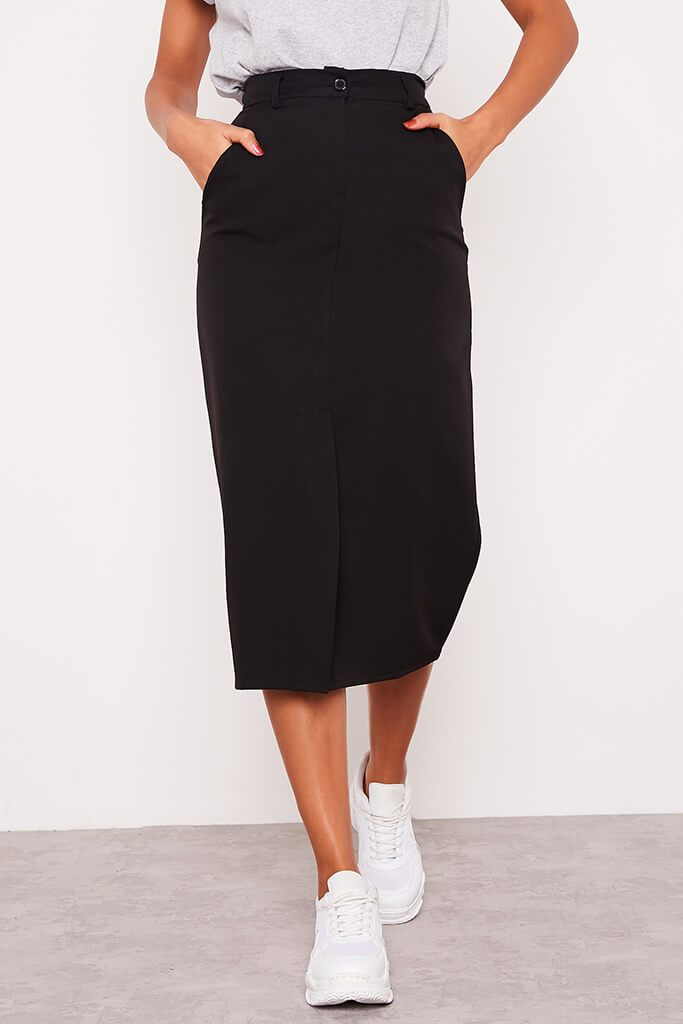 Black Woven Split Front Midi Skirt view 2