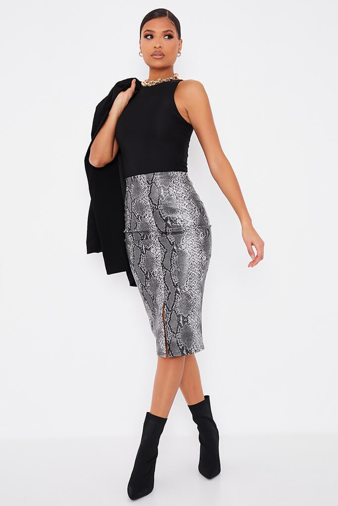 Grey Faux Leather Snake Print Split Front Midi Skirt