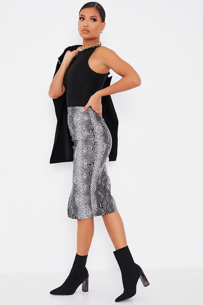 Grey Faux Leather Snake Print Split Front Midi Skirt view 3
