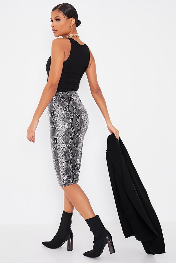 Grey Faux Leather Snake Print Split Front Midi Skirt view 4