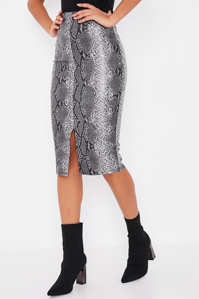 Grey Faux Leather Snake Print Split Front Midi Skirt view 2