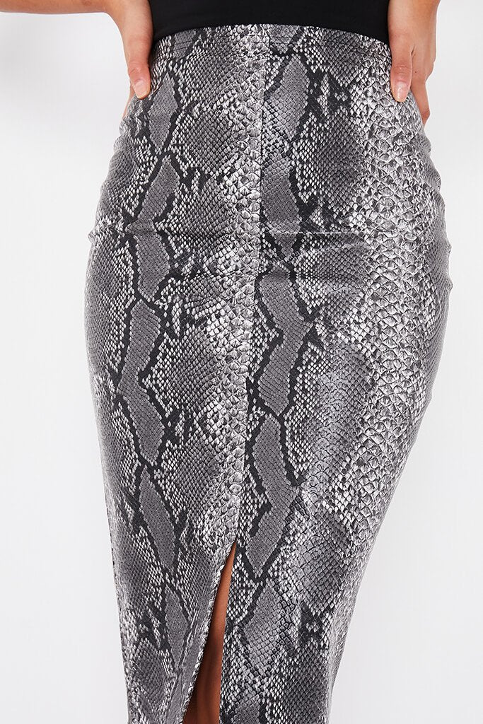 Grey Faux Leather Snake Print Split Front Midi Skirt view 5
