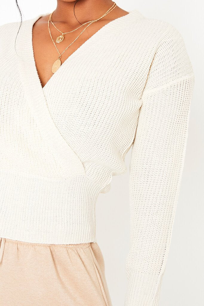 Cream Rib Wrap Jumper view 5