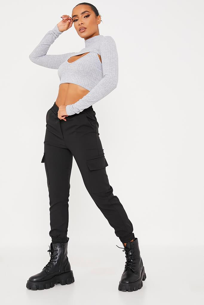 Grey Jumbo Rib Cut Out Crop Top view 3